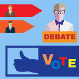 Presidential Elections 2016 icon set. Elections Campaign icon set. Candidates Debates. Vote, Give like for Candidates. Digital background vector illustration Royalty Free Stock Photos