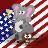 Presidential elections in the United States. Winning the Republican Party. Vector cartoon elephant sitting on a donkey crushed him and keeps up in the trunk.Us Royalty Free Stock Image