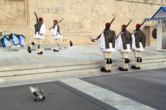 Presidential Guard Changing outside Parliament Building at Athens, Greece Royalty Free Stock Photography