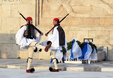 Presidential Guard Changing outside Parliament Building at Athens, Greece Royalty Free Stock Photos