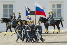 Presidential guards with flags royalty free stock photography