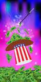 PRESIDENTIAL HATS USA. MAGIC AND MIRACLE. AMERICAN DOLLARS, MONEY. PAPER AND GREEN GETTING STRAIGHT WIZARD. Vertical orientation of the sheet. Illustration vector illustration