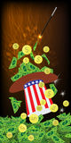 PRESIDENTIAL HATS USA. MAGIC AND MIRACLE. AMERICAN DOLLARS, MONEY. PAPER AND IRON - GOLD COINS KALD WITH WANDERABLE MAGIC. Vertical orientation of the sheet royalty free illustration