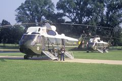 The Presidential helicopter preparing to take President Clinton and the staff to Chicago, Illinois Stock Images
