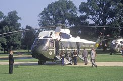 The Presidential helicopter preparing to take President Clinton and the staff to Chicago, Illinois Royalty Free Stock Image