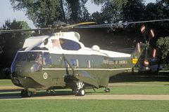 The Presidential helicopter taking off in Washington, D.C. Stock Photo