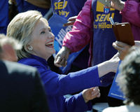 Presidential Hillary Clinton Attends 'Get out the Vote' rally, L Stock Images