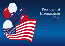 Presidential Inauguration Day. Americans celebrate the newly elected US President. Holiday background. Festive card. Blue background with the American flag Royalty Free Stock Photos