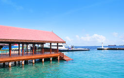 Presidential jetty in Maldives. Scenic view of Presidential jetty in harbour on Male island, Maldives Stock Photos