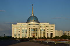 Presidential palace AK-ORDA in Astana at sunset time Royalty Free Stock Image