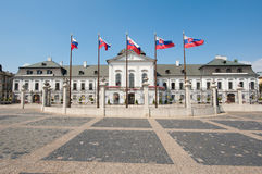 Presidential palace in Bratislava, Slovakia. Presidential place at Hodzovo square, Bratislava, Slovakia Royalty Free Stock Image
