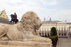 Presidential palace Koniecpolski Palace with lion statues Warsaw Stock Images