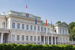 Presidential palace of Lithuania on sunny summer day. royalty free stock image