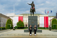 Presidential Palace and statue of Prince Jozef Poniatowski in Warsaw, Poland. The Presidential Palace in Warsaw is located on the Krakowskie Przedmiescie street stock photo
