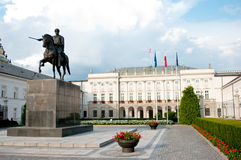 Presidential Palace in Warsaw. Scenic view of Presidential Palace with inner courtyard and statue in foreground; Warsaw, Poland Royalty Free Stock Images