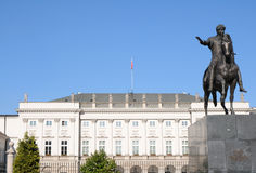 The Presidential Palace in Warsaw, Poland. The classicist style Presidential Palace with equestrian statue of polish general, Prince Jozef Poniatowski, located Stock Images