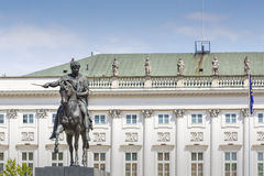 Presidential Palace in Warsaw, Poland. Before it: Bertel Thorval Royalty Free Stock Images