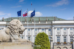 Presidential Palace in Warsaw, Poland. Before it: Bertel Thorval Stock Image