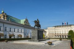 Presidential Palace in Warsaw, Poland. And statue of Prince Jozef Poniatowski Stock Photo