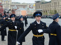 Presidential regiment soldiers during a military parade on red square. Stock Photo