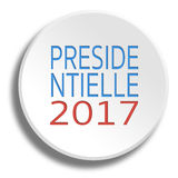 Presidential 2017 in round white button with shadow Royalty Free Stock Photos