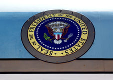 Presidential seal on Air Force One. The US Presidential Seal on a retired Air Force One plane from the Kennedy era Stock Photo