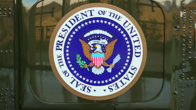 Presidential Seal on the side of Presidential Helicopter Stock Images