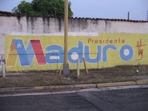 Presidential street graffiti in Ciudad Guayana, Venezuela. Guyana city, Venezuela. May 1, 2018. A political propaganda in the street of the presidential Royalty Free Stock Photos