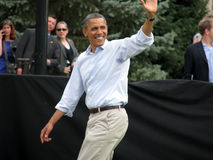 Presidential Wave. President Barack Obama gives the presidential wave and smile Royalty Free Stock Photos