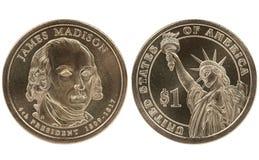 Presidentieel de dollarmuntstuk van Madison Stock Afbeeldingen