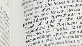 Presidentorddefinition i ordlista, ledare för demokratisk republik, regulator stock video
