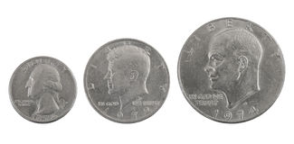 Presidents. Three  old silver US coins: one, half and a quarter of dollar Stock Images