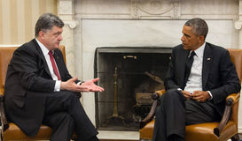 Presidents Barack Obama and Petro Poroshenko royalty free stock photo