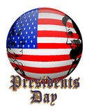 Presidents Day American Flag Orb. Illustration composition for Presidents day of American flag orb graphic with 3D text Stock Image