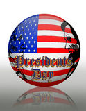 Presidents Day American Flag Orb. Illustration composition for Presidents day of American flag orb graphic with 3D text Stock Photography