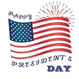 Presidents Day Art with USA Flag and Fireworks stock illustration
