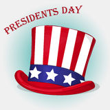 Presidents Day background with Patriotic Uncle Sam Hat. Holiday poster  Stock Photo