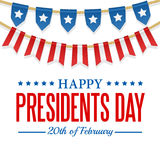 Presidents Day background. USA patriotic template with text, stripes and stars. Vector colorful bunting decoration. Stock Photos