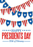 Presidents Day background. USA patriotic template with text, stripes and stars. Vector colorful bunting decoration. Royalty Free Stock Photo