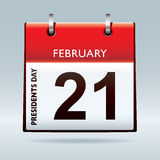 Presidents day calendar. Red calendar icon for american presidents day 21st February Royalty Free Stock Photos