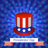 Presidents Day. The concept of a national holiday in the United States. Top hat with USA flag symbols. Background with rays and. Stars. Grunge texture. Ribbon royalty free illustration