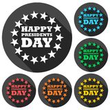 Presidents Day EPS 10 vector stock illustration icons set with long shadow Stock Photos