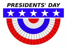 Presidents Day. Graphic with lettering blue band with stars and red white and blue bunting Stock Photos