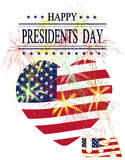 Presidents Day. Greeting card with celebratory fireworks on a white background. Stock Photography
