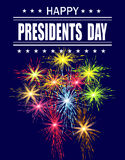 Presidents Day. Greeting card with a festive fireworks. Greeting inscription. illustration. Presidents Day. Greeting card with a festive fireworks. Greeting Stock Photo