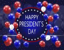 Presidents` Day. Greeting card. The inscription with the wishes of happiness on a background of balloons. illustration Stock Photo