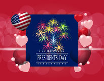 Presidents` Day. Greeting card or invitation. The inscription with the wishes of happiness. Celebratory fireworks Stock Photography