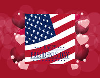 Presidents` Day. Greeting card or invitation. USA flag on the background of hearts. The inscription with the wishes  Stock Photos