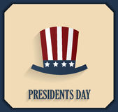 Presidents day poster with hat. Blue border Stock Photography