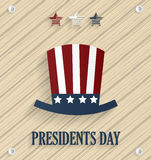 Presidents day poster with hat on wooden background Stock Photography
